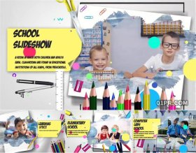 AE模板 9张50秒有趣小孩小学儿童学校校园幻灯片