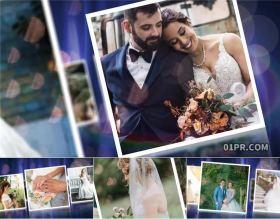 AE模板相册 79秒光晕炫光照片飘动空间感婚礼爱情生日