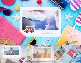 AE模板 12张50秒可爱旅行社度假旅游 AE电子相册模板