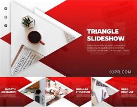 AE模板 11张83秒三角形商务公司企业宣传图文幻灯片