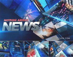 AE模板片头 38张13秒3D新闻广播突发在线报道环境灾难