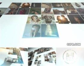 AE模板片头 100张19秒折叠展开照片墙网格