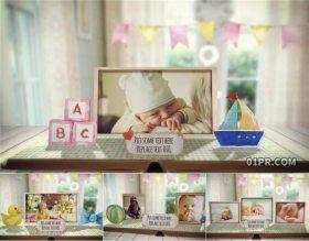 AE模板 30张照片2分钟可爱宝贝宝贝婴儿幼儿动画书本弹出