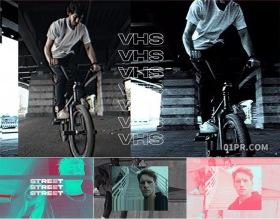 FCPX片头模板 9张19秒潮流城市街舞VHS故障闪烁失真 FCPX插件