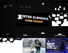FCPX插件 10组手绘落雪下雪冬天冬季动画文字标题元素