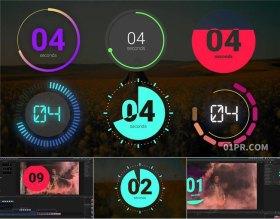 FCPX插件 6组9秒圆形动态倒计时动画贴纸元素