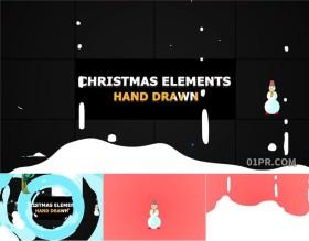 FCPX插件 10组4K卡通手绘冬季雪人圣诞树动画元素