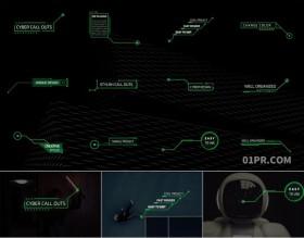 FCPX插件字幕 12组赛博朋克呼出指示线条数字科技标题文字