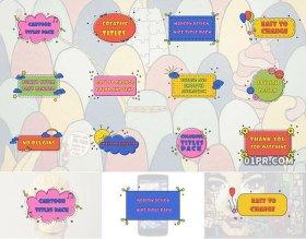 FCPX字幕插件 12组卡通手绘儿童气球云朵小花动画文字标题