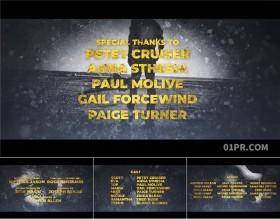 FCPX片尾插件 金色电影结尾致谢演员人名列表