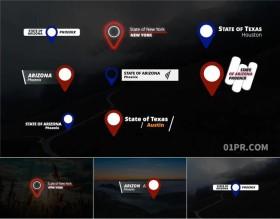 FCPX字幕插件 8组地点位置标注地方动画文字动态标题