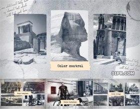 FCPX片头模板插件 复古怀旧黑白翻页历史纪录展示相册