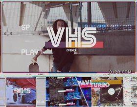 FCPX插件 7张19秒VHS复古开场片头模板
