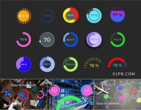 FCPX插件 15组环形饼图百分比数据占比统计图表