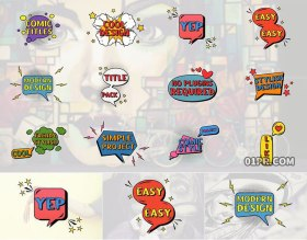 FCPX字幕插件 12组漫画对话框动画文字标题