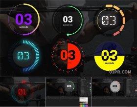 FCPX插件 6组4K倒计时器计数圆形秒表健身训练时间