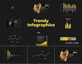 FCPX插件 8组时尚信息数据可视化图表柱形折线百分比