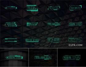 FCPX字幕插件 12组HUD科技动画文字标题