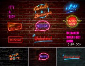 FCPX字幕插件 12组霓虹灯墙壁标题发光动画文字赛博朋克