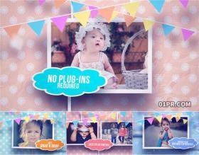 AE相册模板 8张可爱动画快乐儿童小孩生日庆祝