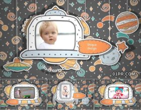 AE相册模板 34张3分钟可爱动画宇航员星球火箭儿童小孩宝宝