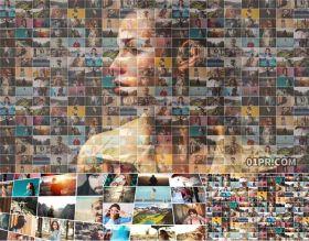 AE模板片头 50张20秒照片墙视频墙展示