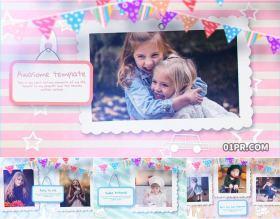 AE模板 21张96秒可爱儿童小孩童年回忆生日纪念