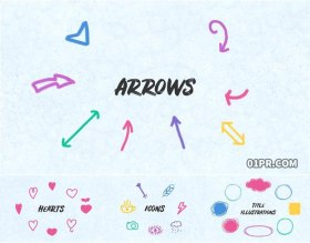 AE模板 71组手绘涂鸦心形箭头图标纹理过渡动画元素
