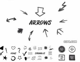 AE模板 61组手绘涂鸦油渍箭头图标边框纹理动画元素素材包