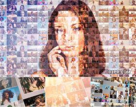 AE模板片头 50张20秒方块组合画廊网格照片墙开场