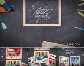 AE相册模板 14张100秒校园黑板动画连接线条毕业学校学习