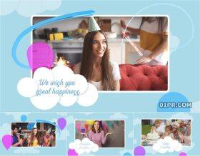 AE模板片头 快乐生日庆祝气球云朵彩色动画儿童小孩