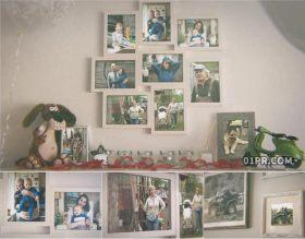 AE模板相册 25张55秒墙面照片相框全家照家人家庭