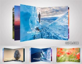 AE模板 30张74秒时尚翻页翻开书本旅行自然家庭照片
