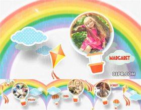 AE模板相册 11张82秒彩虹动画儿童小孩生日聚会回忆