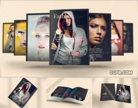 AE模板 28张51秒3D时尚杂志书本展示