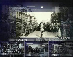 AE模板片头 黑色时间线轴缓慢历史图文纪录片