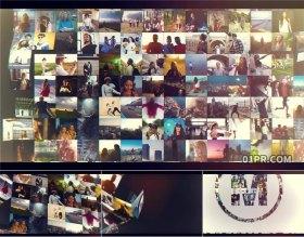 AE模板片头 100张26秒方块折叠网格照片墙LOGO标志展示