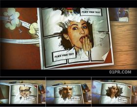 AE模板相册 71秒卡通漫画动画翻页翻开书本