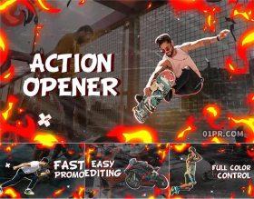 FCPX插件 4K体育运动健身火焰动画幻灯片