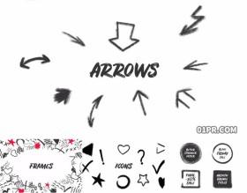 达芬奇模板 61组涂鸦手绘油渍箭头标题字幕动画图标素材包
