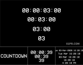 达芬奇预设 3组倒计时数字时钟向上向下时间计数器 DR素材