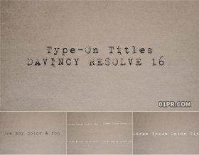 达芬奇预设 9组打字机字幕复古打印机标题动画光标文字