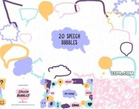 达芬奇模板 54组可爱手绘对话框语音气泡动画纹理图标元素儿童