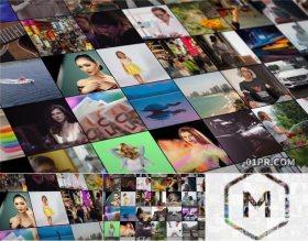 达芬奇模板 方块网格照片墙视频墙片头开场15秒