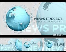 达芬奇模板片头 4K新闻广播突发事件报道天气预报蓝色地球