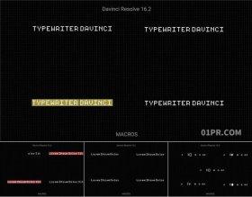 达芬奇预设 打字机字幕动画光标文字打印闪烁标题15组4K