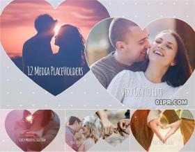 达芬奇模板片头 爱心情人节恋爱婚礼12张50秒 DR相册模板