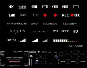 达芬奇预设 45组摄像机相机录制电池边框信号屏幕图标元素