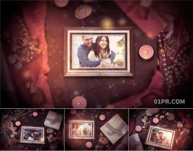 达芬奇相册模板 浪漫缓慢爱心炫光粒子婚礼生日纪念